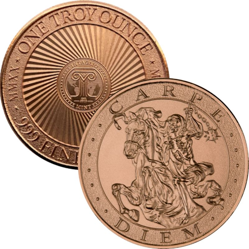 "Carpe Diem ~ ""Seize The Day"" ~ (2020 Reverse) 1 oz .999 Pure Copper Round"